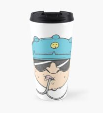 Beer Soda Guzzler Hat Goggles Cartoon Head Drawing Travel Mug