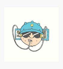 Beer Soda Guzzler Hat Goggles Cartoon Head Drawing Art Print