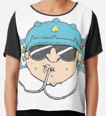 Beer Soda Guzzler Hat Goggles Cartoon Head Drawing Chiffon Top