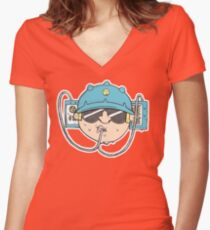 Beer Soda Guzzler Hat Goggles Cartoon Head Drawing Fitted V-Neck T-Shirt