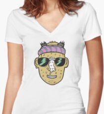 80s Surfer Lifeguard Sunscreen Dude Illustration Head Eighties Fitted V-Neck T-Shirt