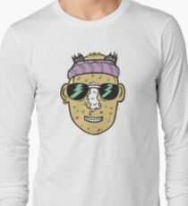 80s Surfer Lifeguard Sunscreen Dude Illustration Head Eighties Long Sleeve T-Shirt