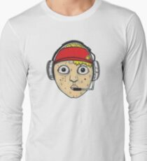 Fast Food Worker Illustration Cartoon Head Wearing a Headset Long Sleeve T-Shirt