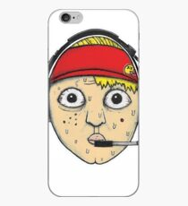 Fast Food Worker Illustration Cartoon Head Wearing a Headset iPhone Case