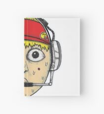 Fast Food Worker Illustration Cartoon Head Wearing a Headset Hardcover Journal