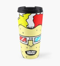 3D glasses wearing sweating cartoon head  Travel Mug