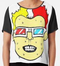 3D glasses wearing sweating cartoon head  Chiffon Top