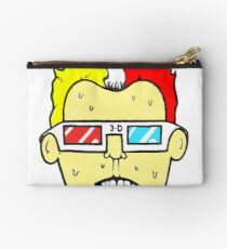 3D glasses wearing sweating cartoon head  Zipper Pouch