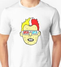 3D glasses wearing sweating cartoon head  Slim Fit T-Shirt