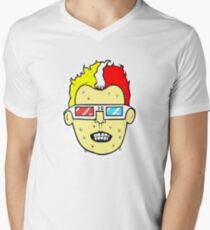 3D glasses wearing sweating cartoon head  V-Neck T-Shirt