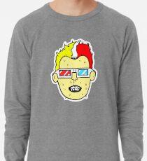 3D glasses wearing sweating cartoon head  Lightweight Sweatshirt