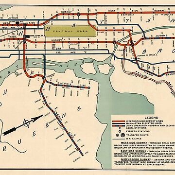Mapa del metro de la ciudad de Nueva York (1918) de BravuraMedia