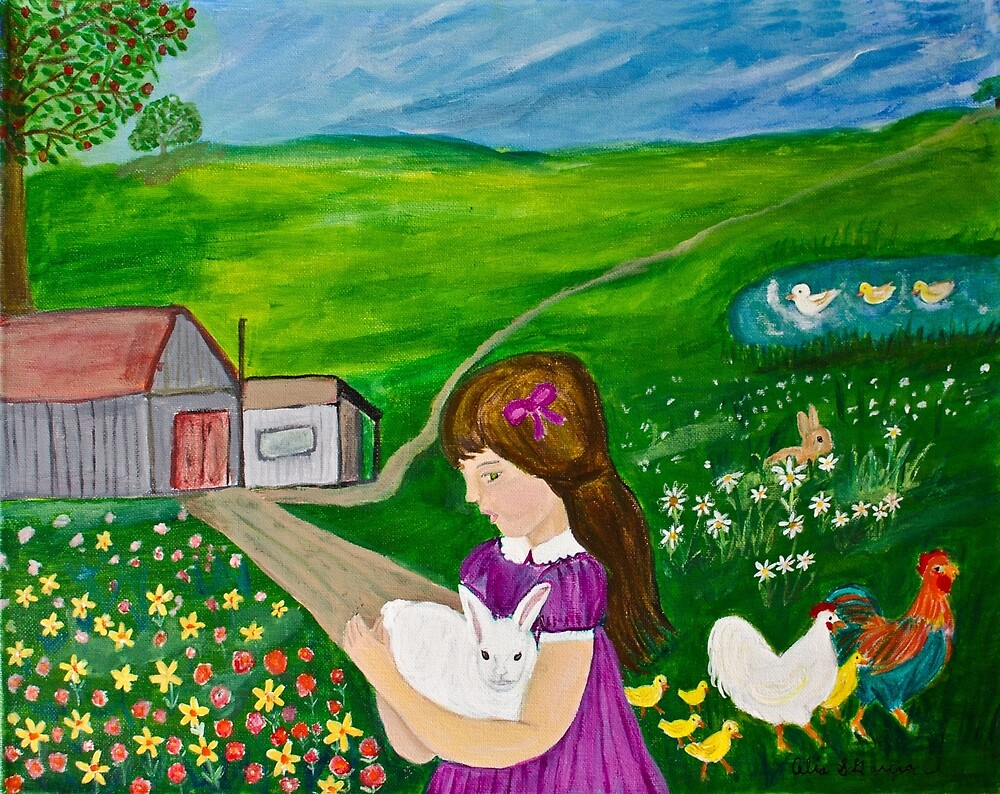 Girl With Bunny On Farm by CeliaSGarciaArt
