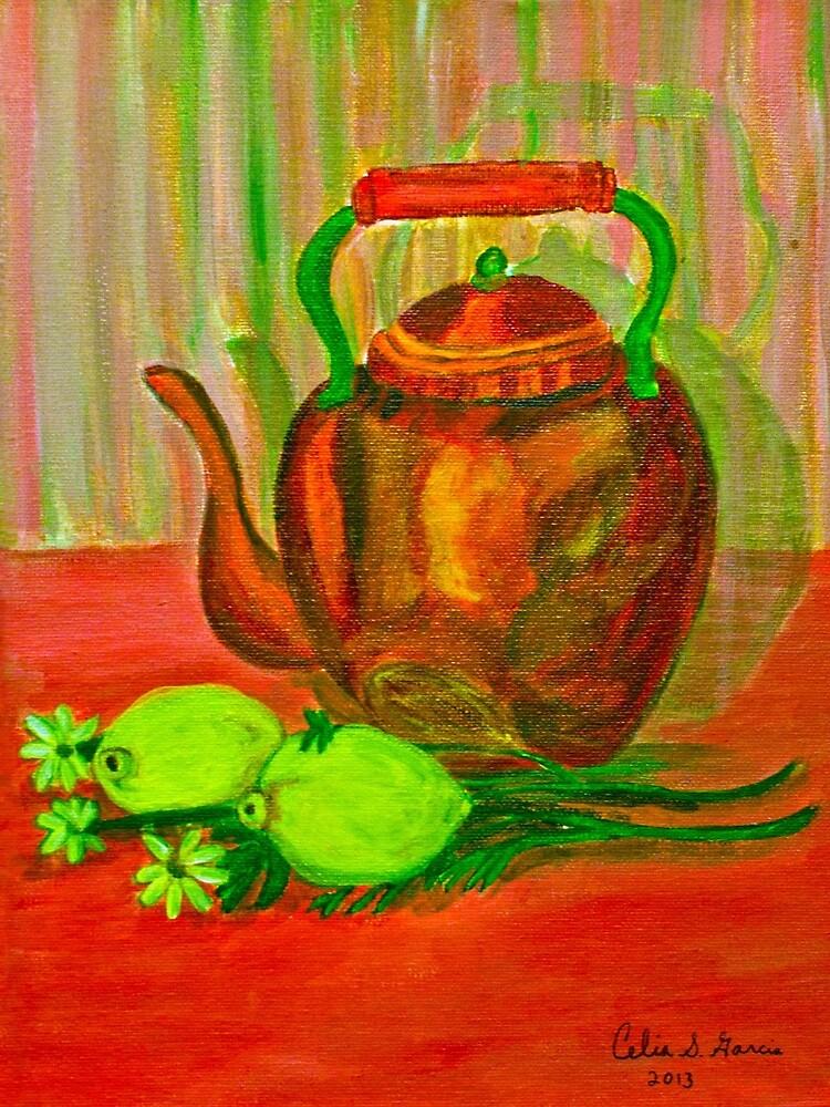 Kettle with Fruit by CeliaSGarciaArt