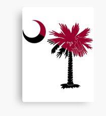 Garnet and Black Palmetto Moon Canvas Print