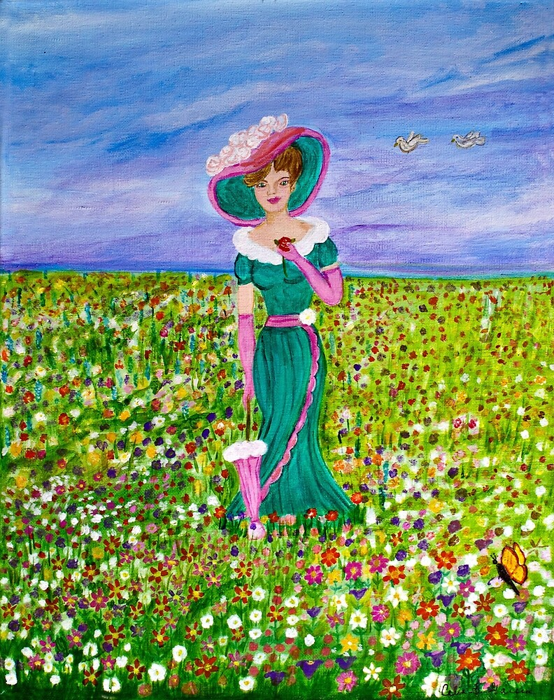Lady With Parasol In Field by CeliaSGarciaArt