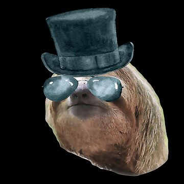 Sloth Aviator Glasses top hat Sloths In Clothes by Vroomie