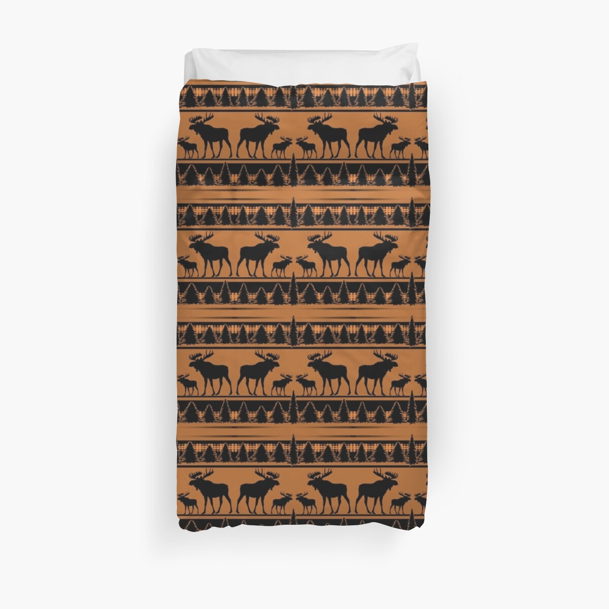 Orange plaid moose rustic pattern by artisticattitud
