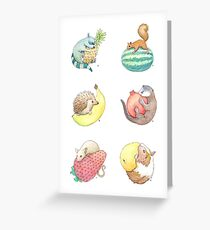 Small Animals & Fruit Greeting Card