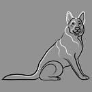 German Shepherd Dog Line Drawing by Adam Regester