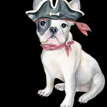 Frenchie French Bulldog Pirate Hat Bandana Bow Dogs In Clothes by Vroomie