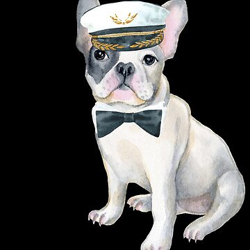 Frenchie French Bulldog black bow tie Captains Hat  Dogs In Clothes by Vroomie