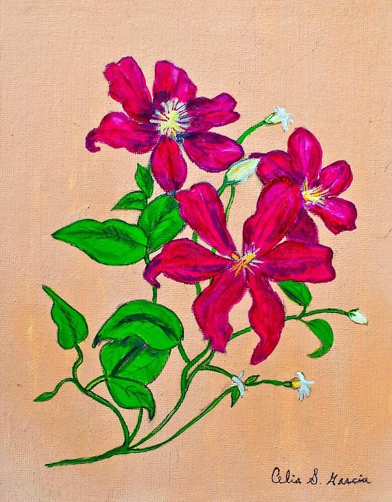 Red Flowers by CeliaSGarciaArt