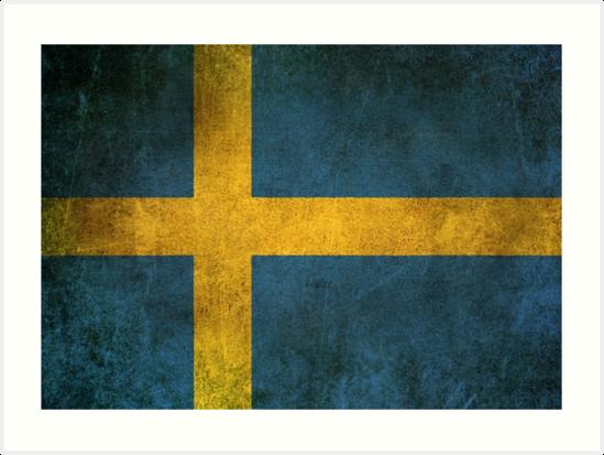 Old and Worn Distressed Vintage Flag of Sweden by jeff bartels
