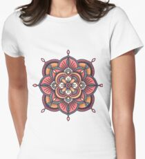 Red Mandala  Fitted T-Shirt