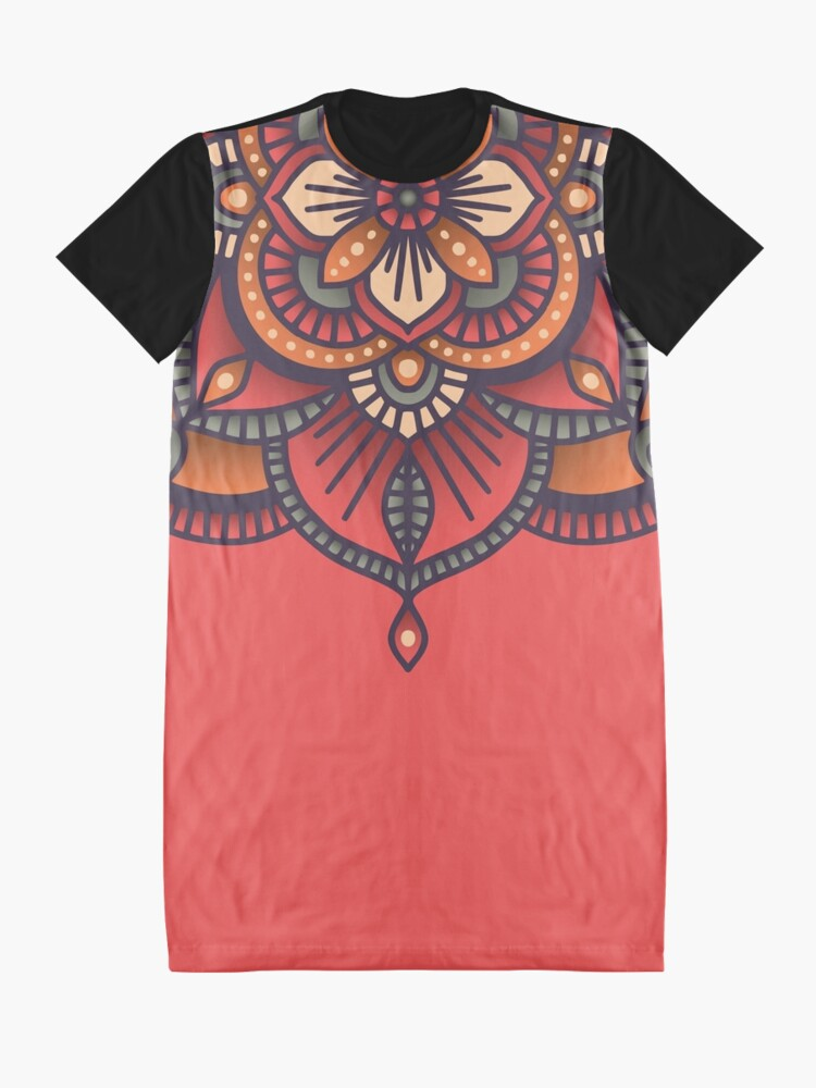Alternate view of Red Mandala  Graphic T-Shirt Dress