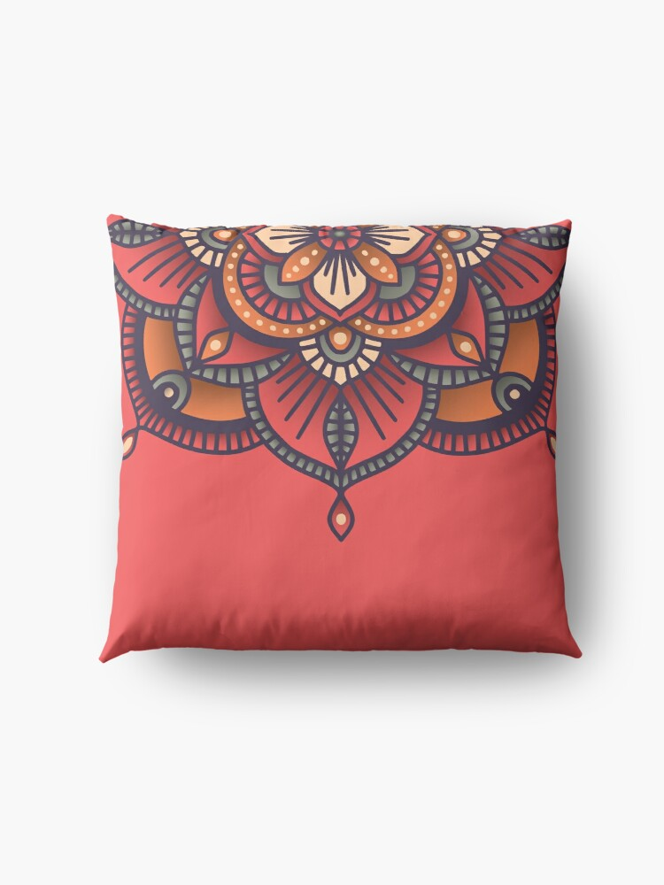 Alternate view of Red Mandala  Floor Pillow