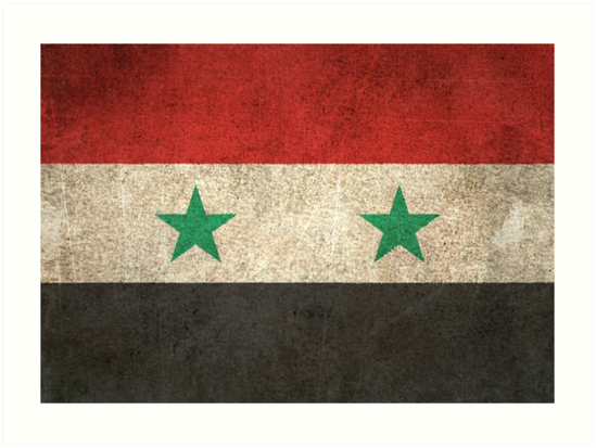 Old and Worn Distressed Vintage Flag of Syria by jeff bartels