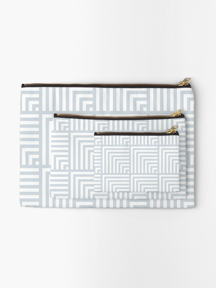 Alternate view of optical art pattern squares in white and ice gray Zipper Pouch