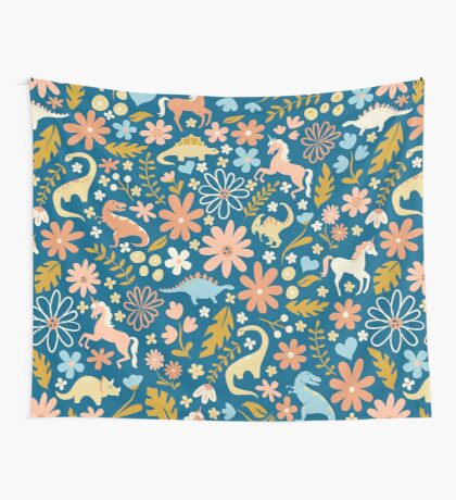 Dinosaurs + Unicorns in Coral + Blue Wall Tapestry