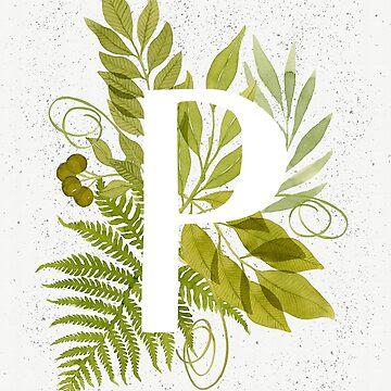 Monograma de la letra P con helecho verde acuarela y hojas de helga-wigandt