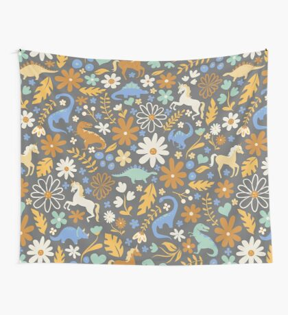 Dinosaurs + Unicorns in Blue + Umber Wall Tapestry