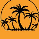 Palm Trees And Sunset in Black by fizzgig