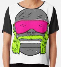 80s Neon Wrestler Cartoon Head Hulk Macho Chiffon Top