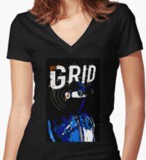 Hacker Sci-Fi Cyberpunk Illustration Off_Grid  Fitted V-Neck T-Shirt