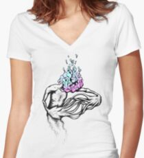 Gathering My Thoughts for the Night Women's Fitted V-Neck T-Shirt