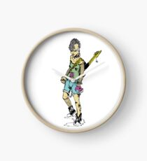 Punk Rock Girl Guitar Comic Book Style Character with a Mohawk Clock