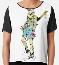 Punk Rock Girl Guitar Comic Book Style Character with a Mohawk Chiffon Top