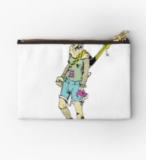 Punk Rock Girl Guitar Comic Book Style Character with a Mohawk Zipper Pouch