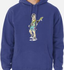 Punk Rock Girl Guitar Comic Book Style Character with a Mohawk Pullover Hoodie