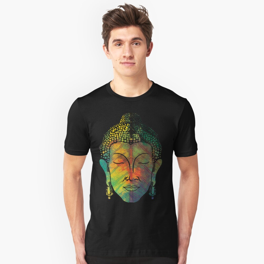 Buddha on pipal leaf Unisex T-Shirt Front
