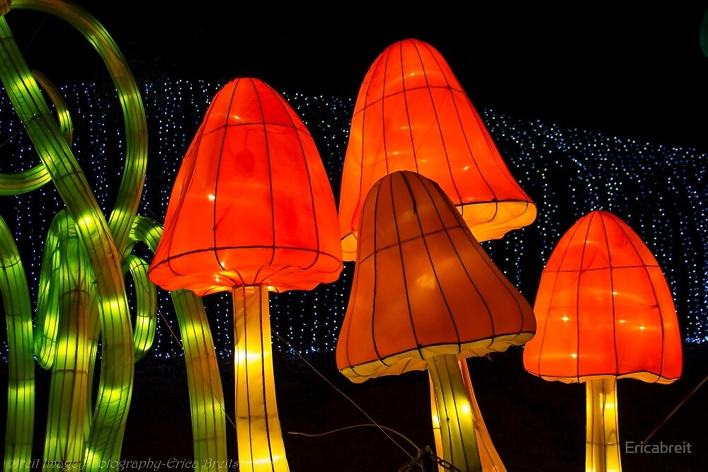 Neon Mushrooms by Ericabreit