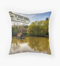 The Duckpond in the village of Crawley, near Winchester Throw Pillow