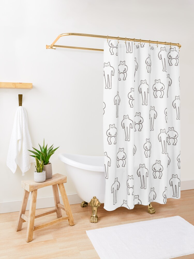 Alternate view of Flexing & Squating Cat Shower Curtain