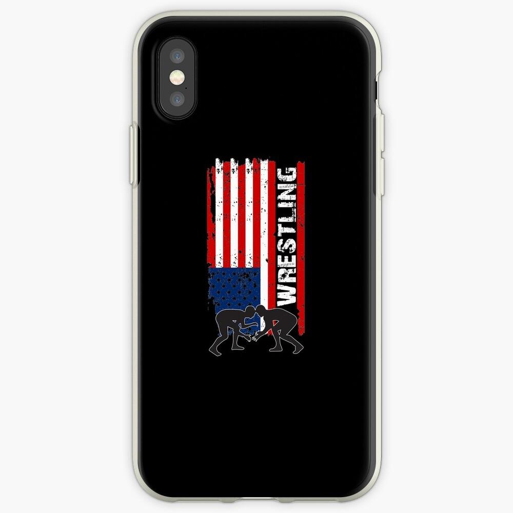 Camiseta de lucha de Amercian, camisa de lucha de la bandera de los EEUU, camiseta de lucha patriótica Funda y vinilo para iPhone