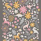 Dinosaurs + Unicorns - Gray by latheandquill